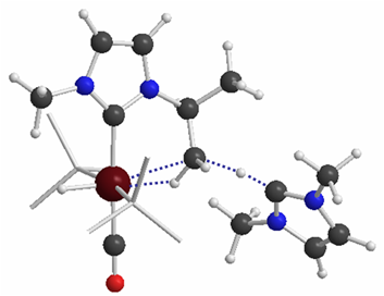 Ruthenium NHC complex showing activation of a geminal C–H bond by a dissociated NHC ligand